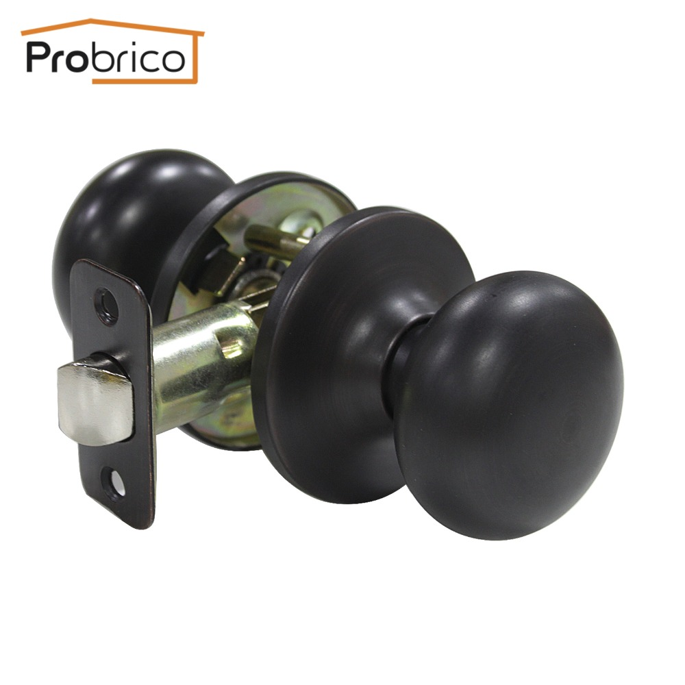 Probrico 10 PCS Passage Keyless Door Lock Stainless Steel Oil Rubbed Bronze Door Knob Door Handle For Interior Door DL5766ORBPS allen roth brinkley handsome oil rubbed bronze metal toothbrush holder