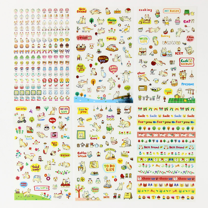 12 Sheets/2set Book Sticker Kawaii Cat Diary Scrapbook Calendar Notebook Label Decoration DIY Stationery Stickers ultimate sticker book dangerous dinosaurs