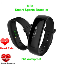 Новый M88 смарт-браслет Приборы для измерения артериального давления автоматически сердечного ритма сна Мониторы для Android IOS Фитнес трекер Водонепроницаемый IP67