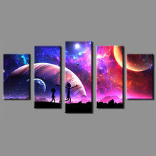 HD Modern Canvas Artwork 5 Pieces Rick and Morty Painting Fantastic Beautiful Scenery Spray