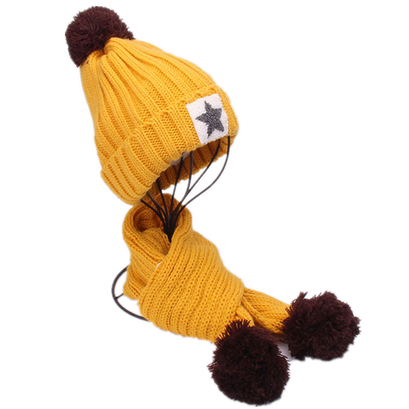 New Children's 2pcs Warm Winter Beanies Baby Knitted Hat Scarf Set For Kids Girls Boys Five-pointed Star Caps Scarf Windproof