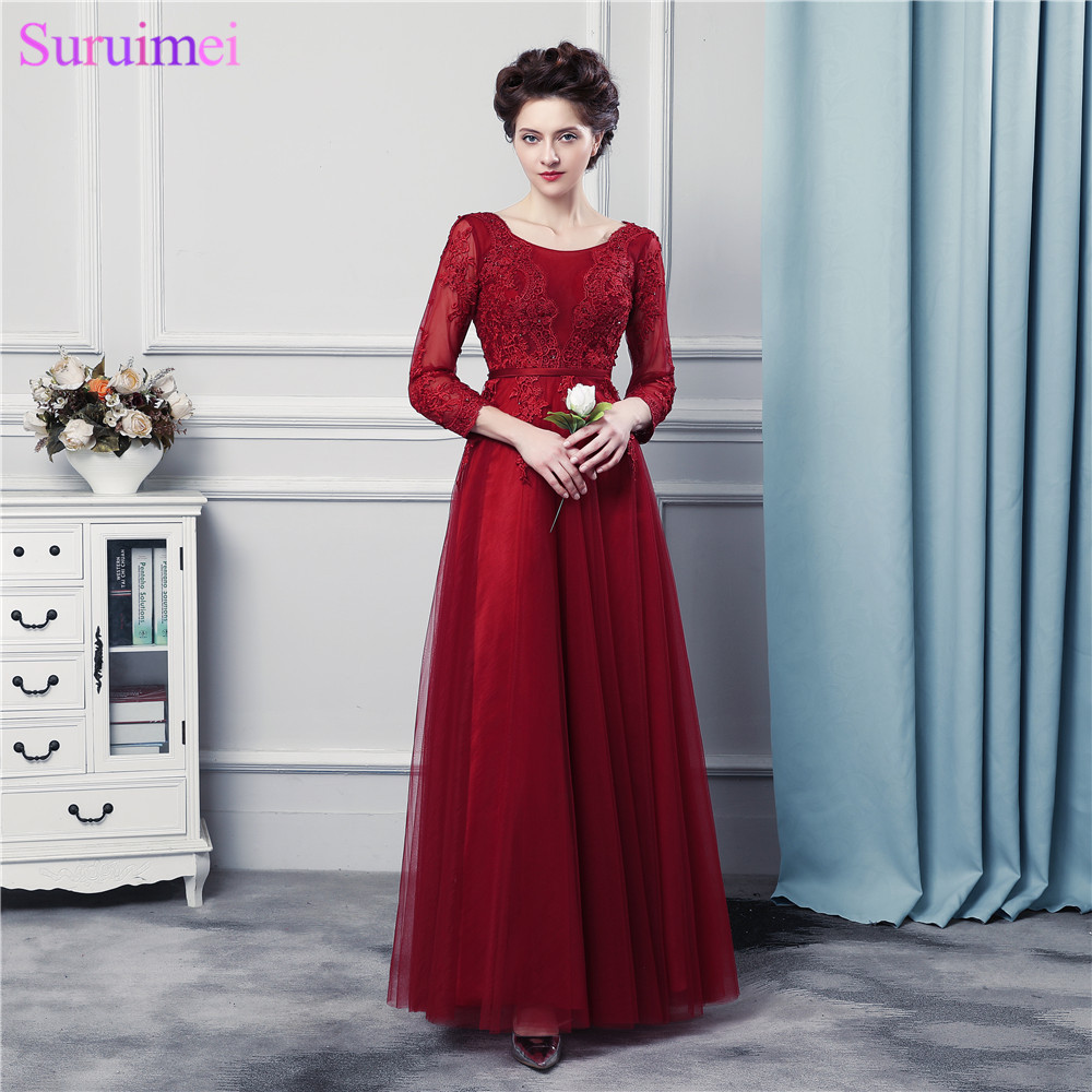 Long Sleeves Red Burgundy Bridesmaid Dresses High Quality Tulle Corset Long Brides Maid Dresses Vestidos De(China)