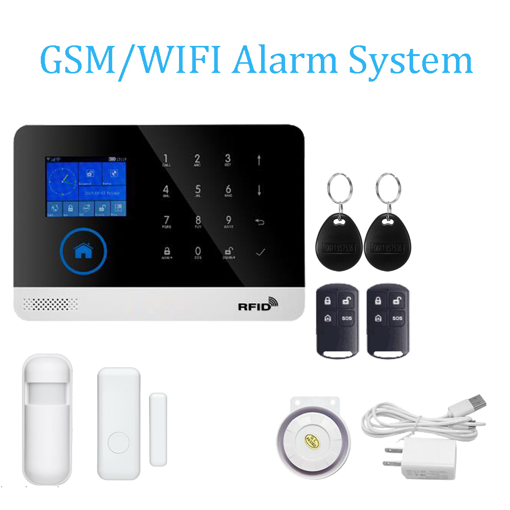 433MHz Wireless GSM Alarm system SIM RFID Card WIFI app control Smoke Sensor door contact open alarm gas leak Touch keypad wifi gsm home security alarm system ios android control rfid keypad 433mhz wireless intelligent door window sensor pir sensor