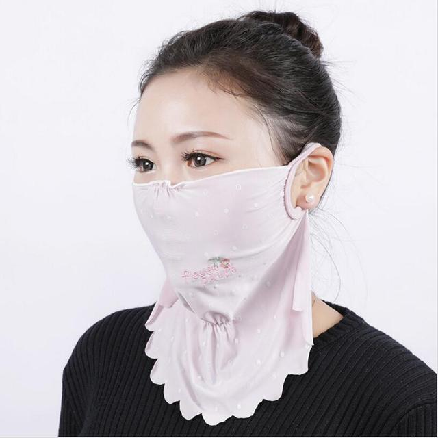 NEW Summer Spring neck protection face mask sun protective Shade anti-dust mouth mask silk Mouth-muffle Mask Flu Face masks 1