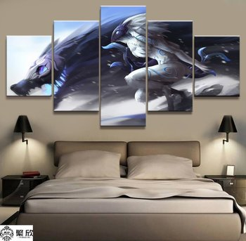 5 Panel LOL League of Legends Kindred Game Canvas Printed Painting For Living Room Wall Art Decor HD Picture Artworks Poster