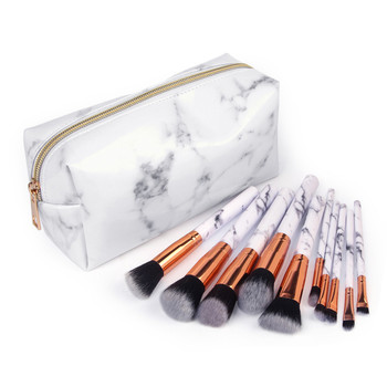 New Women's Fashion Marble Makeup Brush Sets with Cosmetic Bag Beauty Makeup Tools Brushes 10PCS Pincel Maquiagem Free Shipping Eye Shadow Applicator