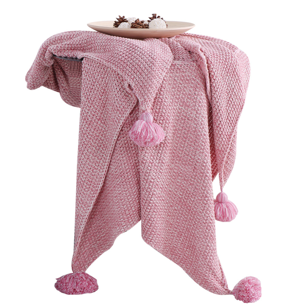 Bed Sofa Slipcover knit throw blanket fur decorative for Sofa/Bed/office travel cotton microfiber knitted pink blankets tasselBed Sofa Slipcover knit throw blanket fur decorative for Sofa/Bed/office travel cotton microfiber knitted pink blankets tassel