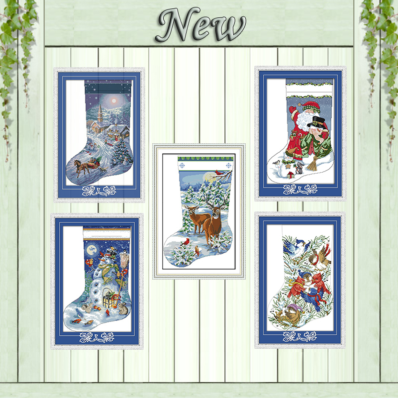 Christmas Stocking Santa Claus Snowman Painting Counted Print On Canvas DMC 14CT 11CT Cross Stitch Embroider Kits Needlework Set
