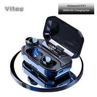 G02 TWS Vero auricolari Senza Fili di Sport 5.0 Auricolari Bluetooth IPX7 Impermeabile con il mic 3500mAh casella di ricarica Accumulatori e caricabatterie di riserva per huawei