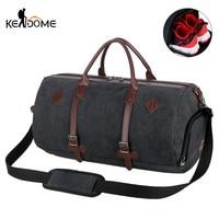 Men Canvas Climbing Bags Large Capacity Round Bucket Cylinder Handbag Male Travel Shoulder Bag Suitcase Luggage Pack Tas XA77D