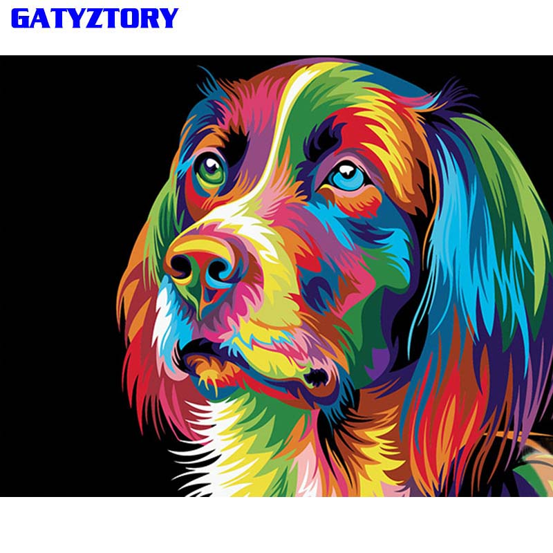 GATYZTORY Frameless Cane Animale Pittura di DIY Dai Numeri Moderna Wall Art Picture For Home Decor Opera D'arte Pittura Calligrafia 40x50