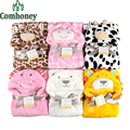 Baby Blanket Fleece Swaddle Soft Newborn Animal Bathrobe Hoodie Swaddle Children Bath Towel Envelopes For Newborns Kids Towel