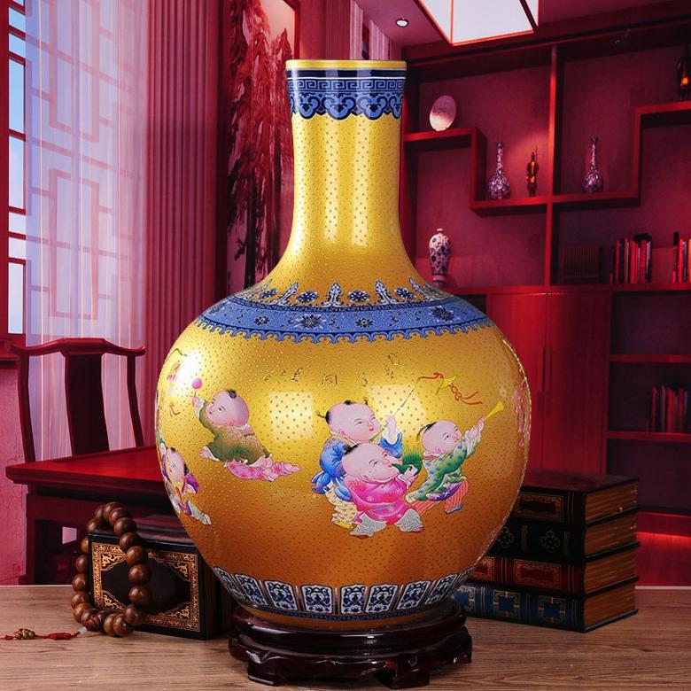 Jingdezhen Porzellan Emaille Gold Vase Von Einrichtungs Europische Hochwertigem Boden Wohnzimmer DekorationChina
