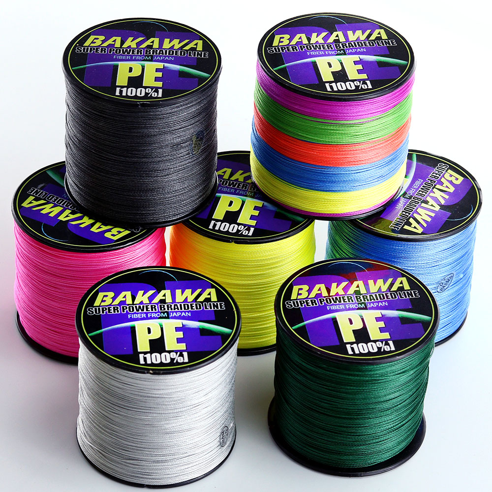 BAKAWA 8 braid 500M 300M  4 strands PE Braided Fishing Line 120 TO 10LB Multifilament Fishing Line cord linha multifilamento
