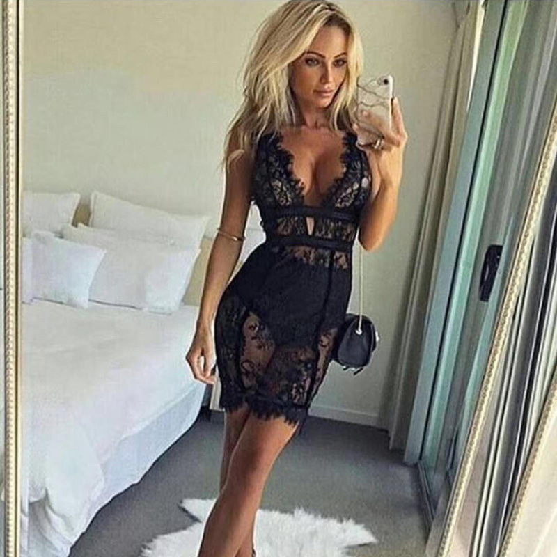 Aliexpress.com : Buy Sexy Black See Through Lace Dress