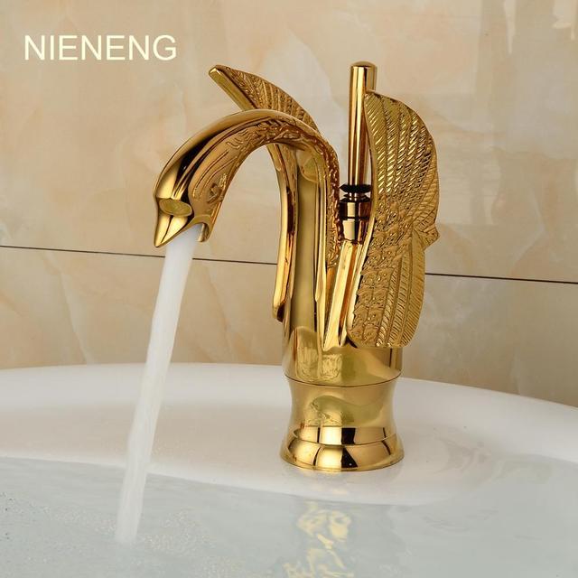 NIENENG bathroom faucet golden tap accessories faucets swan gold ...
