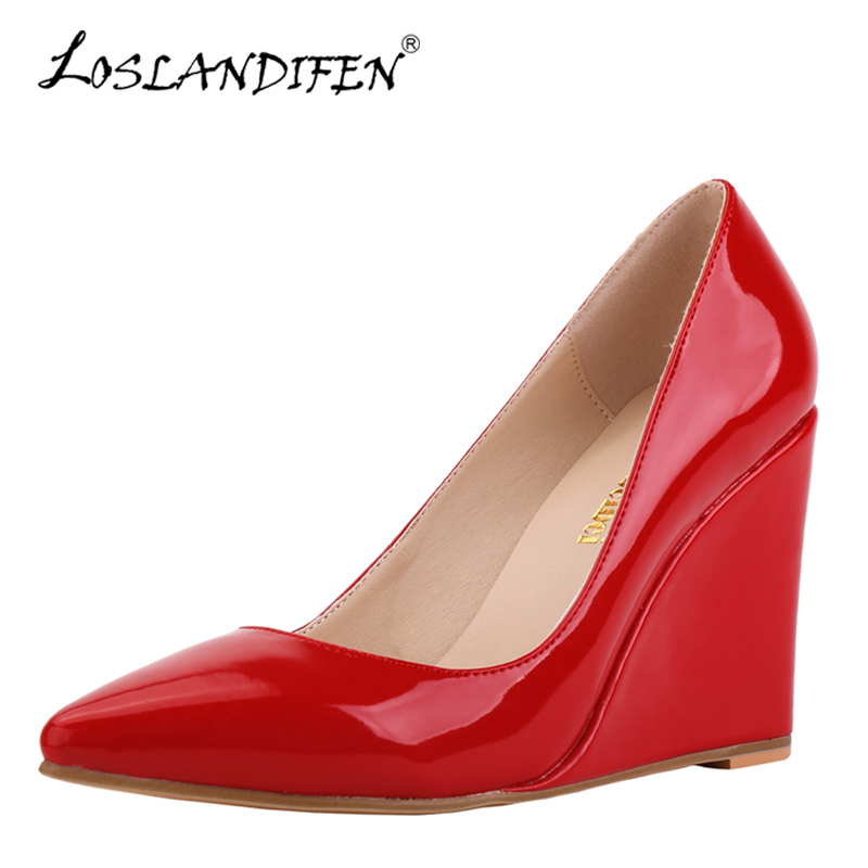 LOSLANDIFEN Sexy Pointed Toe Patent Leather High Heels Pumps Women Red Office Wedding Shoes Summer Autumn Wedges Pumps Woman new women pumps transparent wedges high heels ankle pointed toe high heels pring autumn sexy shoes woman platform pumps