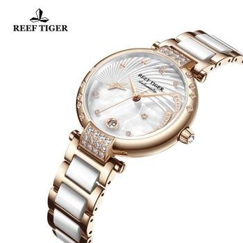 Reef Tiger/RT Top Brand Luxury Women Watch Ceramic Rose Gold Bracelet Diamond Automatic Mechanical Shell Watches Clock RGA1592 4