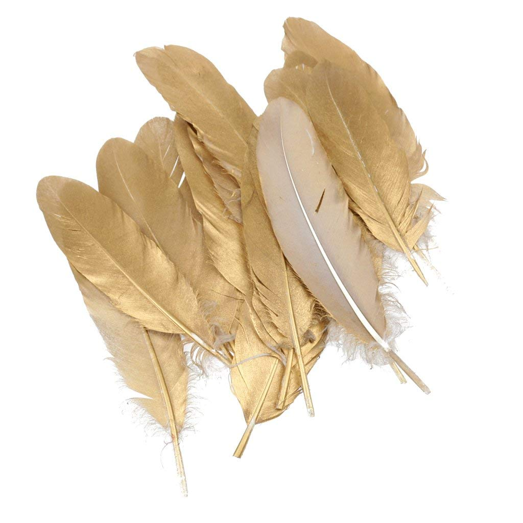 Wholesale Glitter Gold Silver Dipped Goose Feathers For Crafts Jewelry Accessories Wedding Decoration Duck Feather Natural Plume