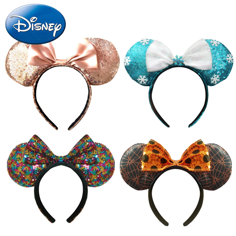 Disney New Mickey Minnie Mouse Headdress Pretend Play Head Ear Girls Sequin Hair Band Kawaii Head