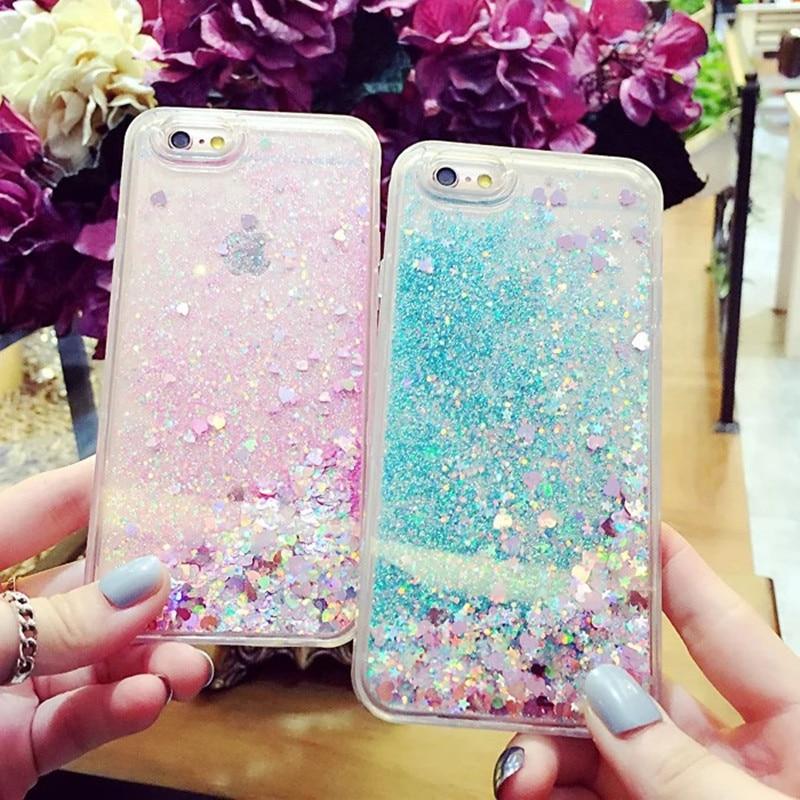För iPhone 6 6S Plus 7 8 5 5S Fodral Glitter Liquid Quicksand - Reservdelar och tillbehör för mobiltelefoner - Foto 2