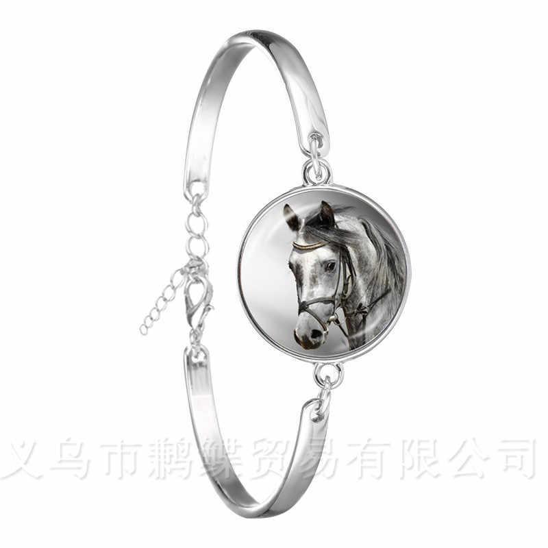 Leuke Paarse Eenhoorn Fly Paarden 18mm Glas Cabochon Armband Jewely Verzilverd Bangle Voor Vrouwen Meisjes Gift