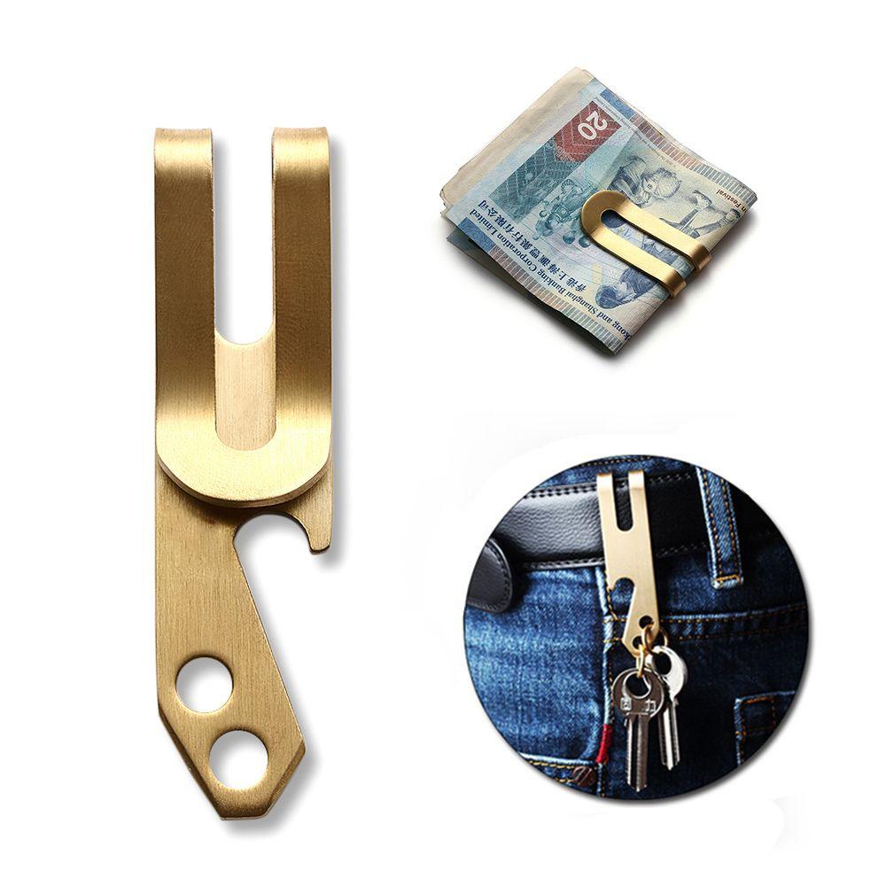 Portable Men Money Clip Pocket Holder Wallet Copper Bottle Opener Key Chain Cash Holder 3 In 1 Tool Brass Belt Clip