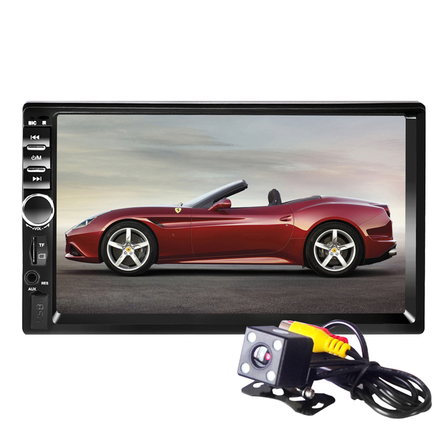 "Nova 7018B 2 DIN Áudio Do Carro Do Bluetooth 7 ""AutoRadio HD In Dash Touch Screen Estéreo MP3 MP5 Player USB Câmera de Visão Traseira"