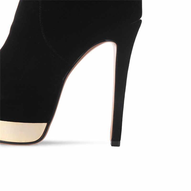 MORAZORA/обувь на высоком каблуке; женские ботфорты; сезон осень-зима; ботинки на платформе; Женская Модная элегантная однотонная обувь из флока