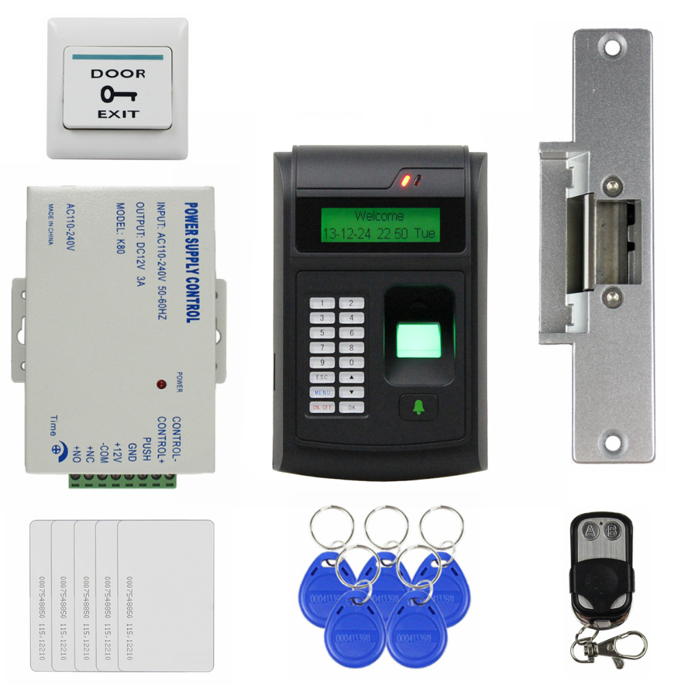 DIYSECUR Remote Control 125KHz RFID LCD Fingerprint Keypad ID Card Reader Access Control System Kit + Electric Strike Lock блуза jacqueline de yong jacqueline de yong ja908ewujb68