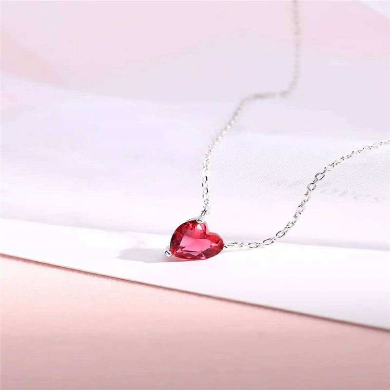 Korean 925 sterling Silver Red Necklace corundum crystal red heart clavicle chain crystal pendant gemstone bizuteria jewelry