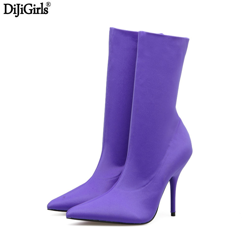 Womens High Heel Boots Sexy Silk Elastic Ankle Boots Women Stiletto Heel Thigh High Boots Fashion Candy Color Party Dress Shoes jialuowei women sexy fashion shoes lace up knee high thin high heel platform thigh high boots pointed stiletto zip leather boots
