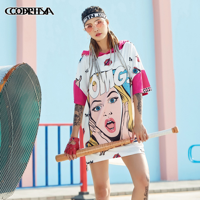 Graffiti OMG Cartoon Funny Long T-shirt Hooded Hip Hop Style Hippie Tops Kawaii Harajuku Graphic Tees ICE CREAM