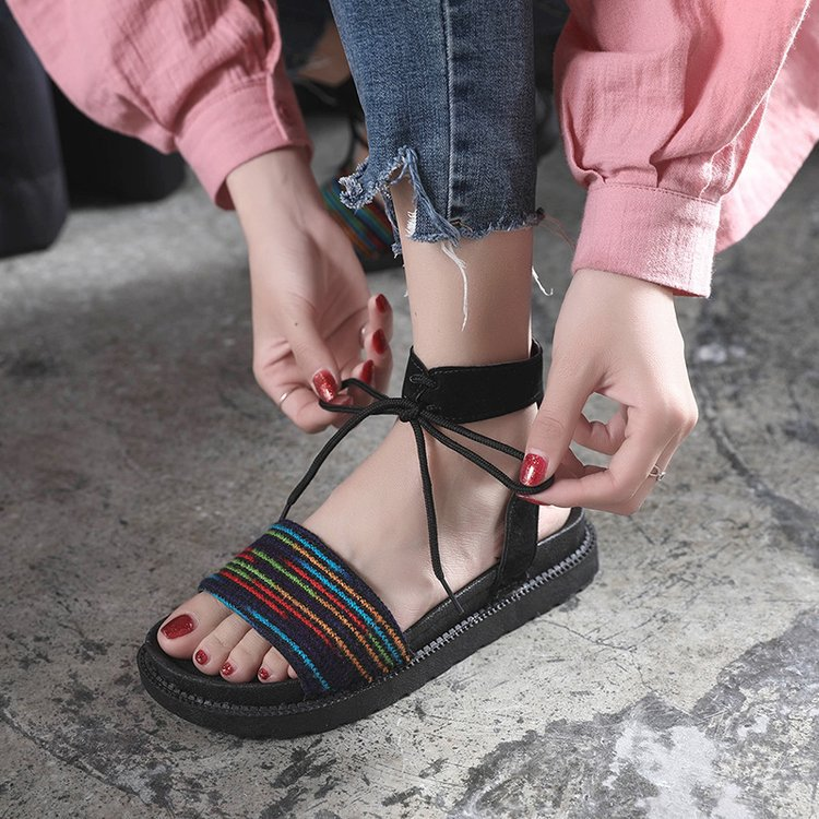 Casual Lace-up Rome Gladiator Women Sandals Solid Ankle Strap Shallow Women Shoes Summer Fashion Flat Sandals 18
