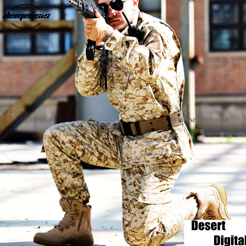 Desert Digital Camouflage Suit Paintball Clothing Sets Army Military Tactical Uniform Combat Airsoft Uniform Jacket + Pants lurker shark skin soft shell v4 military tactical jacket men waterproof windproof warm coat camouflage hooded camo army clothing