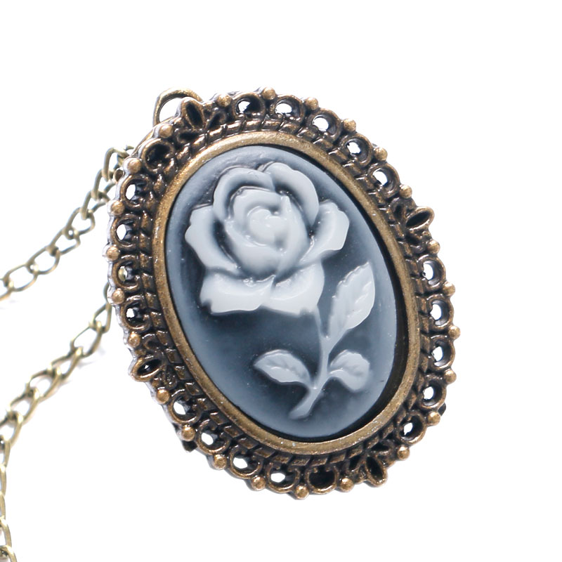 Dropshipping Antique 3D Flower Design Quartz Fob Pocket Watch With Neckalce Chain Sweater Necklace Chain Gift For Pocket Watch