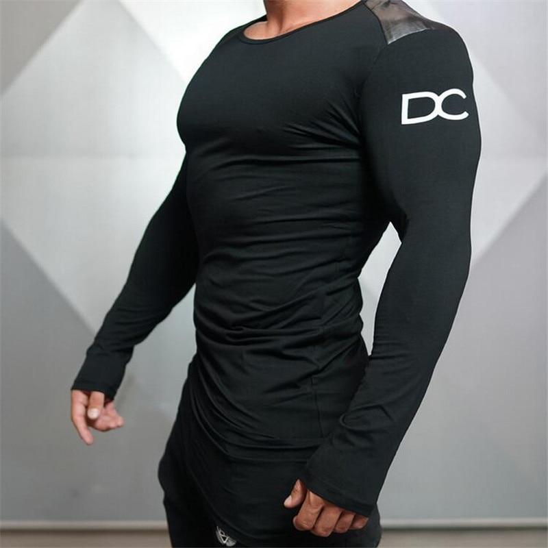 2016 Fitness Men Long T shirt Bodybuilding Tights Sexy Casual T shirts Racerback Undershirts Shark Clothing