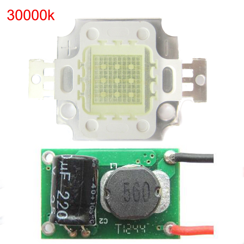 1pcs 10w 30mil Warm Neutral Cold Cool White 3000K 4500K 6000K 10000K 20000K <font><b>30000K</b></font> <font><b>LED</b></font> Diodes Light Part + DC12 ~24V <font><b>LED</b></font> driver image