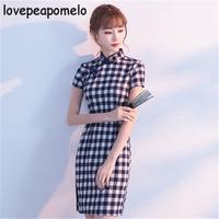 Large Size 2018 Summer Dress Chinese Style Cheongsam Collar Women's Dress Plaid Cheongsam Vintage Hollow out Female Dress J433
