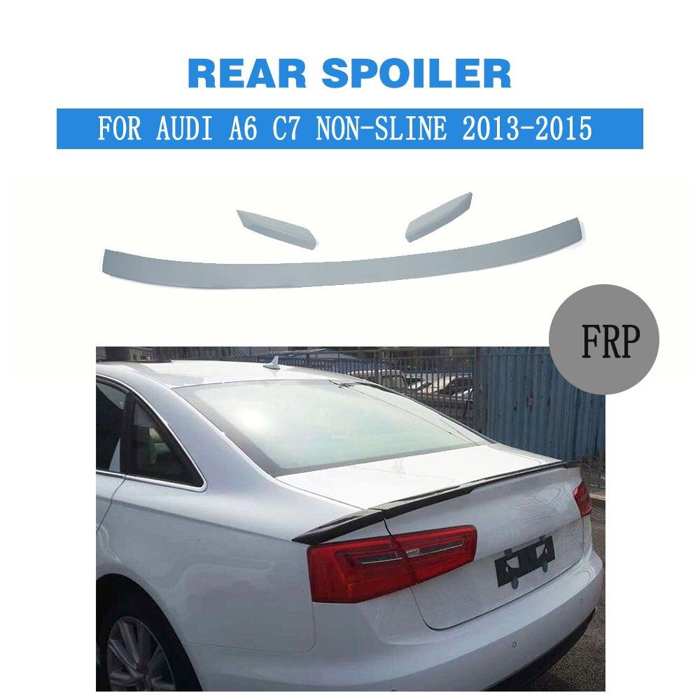 Aileron de coffre arrière 3 pièces/ensemble lèvre d'aile pour AUDI A6 C7 Standard 013-2015 apprêt gris Non peint FRP Non sline