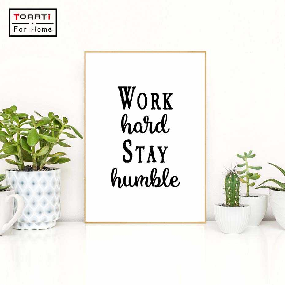 Nordic Minimalist Typography Motivational Quotes Work Hard Stay Humble Art Canvas Prints Wall Picture Art Posters For Home Decor