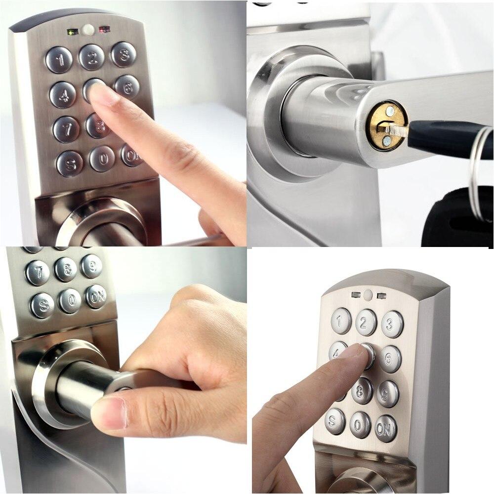 Digitale Tastatur Türschloss mit Backup Runde Key Locker Elektronische Eintrag durch Passwort Code Kombination Passwort + Schlüssel OS7717