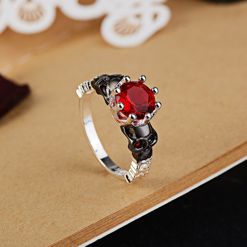 Everoyal Charm Crystal Red Finger Rings For Girls Accessories Female Fashion Lady Silver 925 Sterling Rings Jewelry For Women in Wedding Bands from Jewelry Accessories