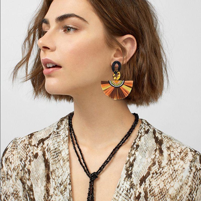 Ladies Tassel Earrings Boho Colorful Raffia Grass Fan-shape Fringe Acrylic Dangle For Women