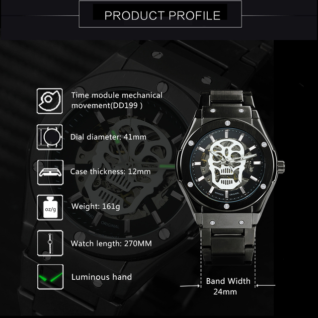 AUTO MECHANICAL SKULL WATCHES (8 VARIAN)
