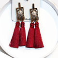 Fashion Big exaggerated Hollow Out statement Earrings Boho Pearl Double Tassel Earrings for Women