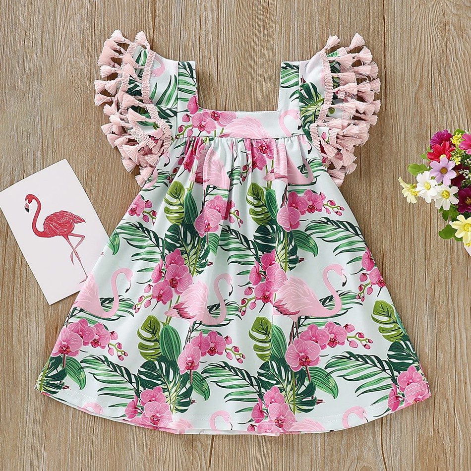 Baby Girl Short Flying Sleeve Flamingo Printed Dress