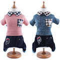 The fashion pet clothes collar pocket knitting denim suit four legs hot sale Free Shipping