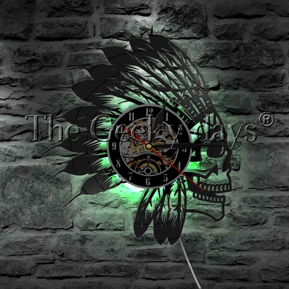 Indian Warrior Apache Skull Vinyl Record Wall Clock Native American Fighter Skull Feathers Headband LED Night Light Table Lamp fst3125 fst3125mx sop