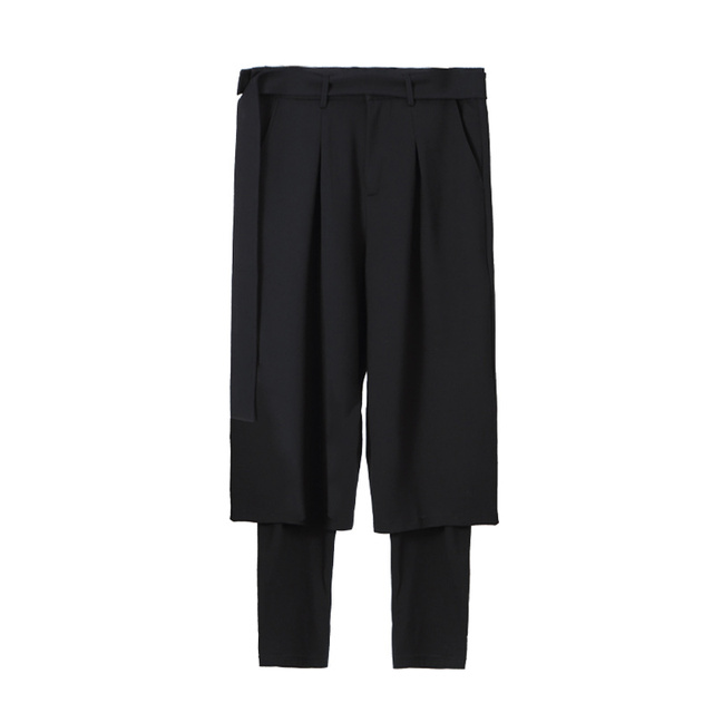 S-6XL!!Spring and summer  is original and loose male false two restore ancient ways waist fasten to take wide leg trousers 5